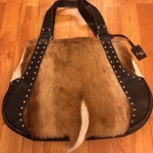 Handbags - Roma leather and Springbok fur purse